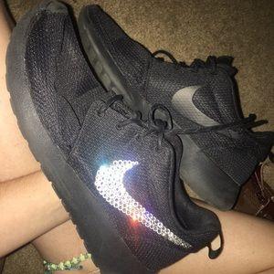 All Black Rhinestone Nike Roshes